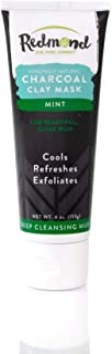 Redmond Amazingly Natural Charcoal Clay Mask, Deep Cleansing Mud, Mint, 4oz tube (1 Pack)