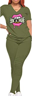 Women's Two Piece Outfits Set Sexy Tops Casual Long Pants Kiss Money Bodycon Sweatsuit