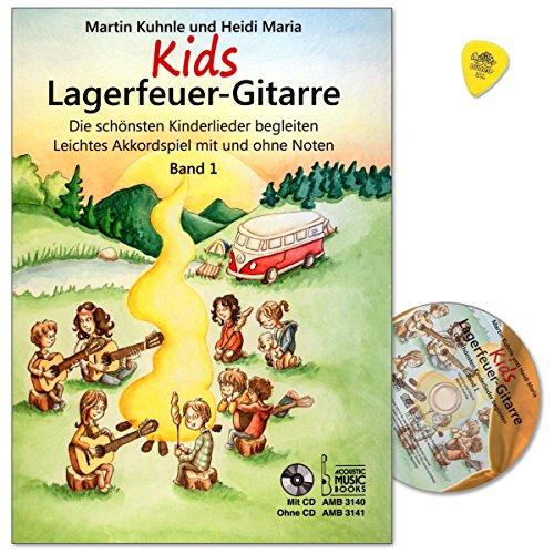 Kids kampvuur gitaar band 1 - de mooiste kinderliedjes begeleiden - licht acordspel met en zonder noten - leerboek met CD en origineel Dunlop Plek - AMB3140-9783869473406