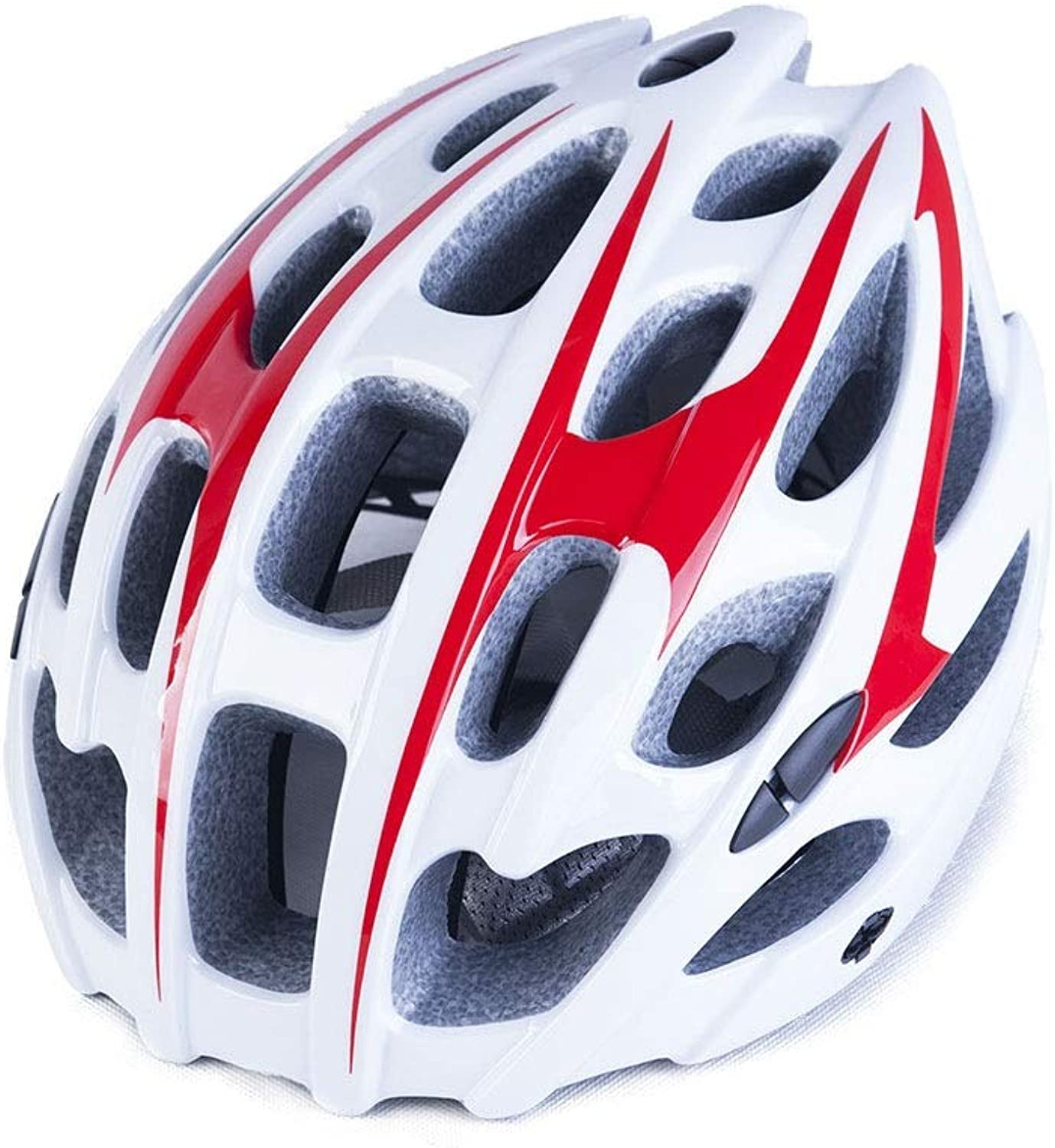 Bicycle Helmet, Red and White Visor Road Mountain Bike Cycle Riding Adjustable Adult Lightweight Helmet