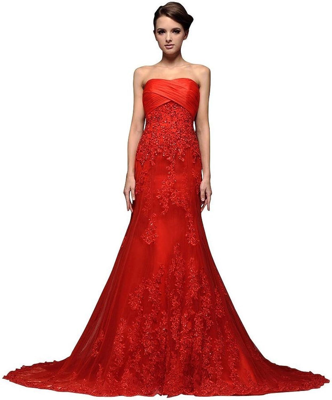 JoyVany Sweetheart Lace Wedding Dress 2016 Long Beaded Mermaid Wedding Gowns