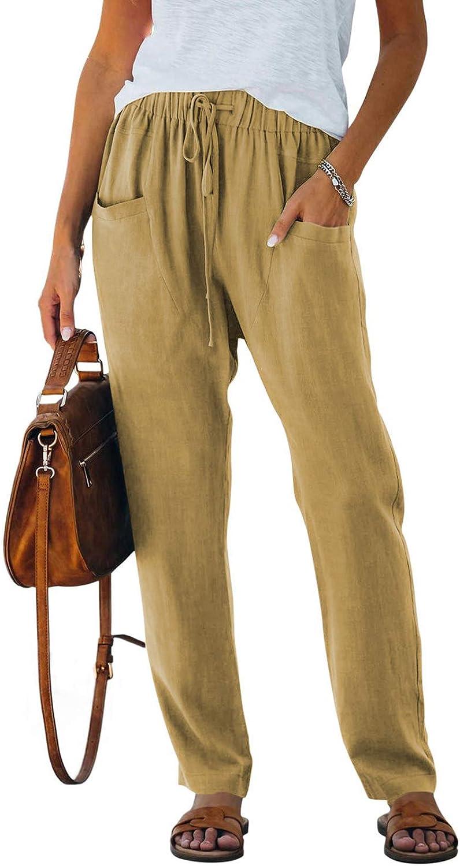 AZOKOE Women Wide Leg Linen Pants Casual Loose Drawstring Palazzo Pants Khaki L