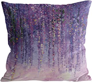Square Throw Pillow Cover with Zipper for Girl/Boy/Kid/Couple/Couch/Chair/Bed/Dining/Living Room, Purple Abstract Oil Painting Decorative Soft Short Plush Cushion Cover Pillow Case 26x26in