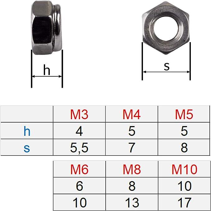 50PX DIN985 M3 M4 M5 M6Verzinkte selbstsichernde Mutter Nylon-SicherungsmutterOZ