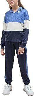 طقم ملابس رياضية من قطعتين للفتيات من GORLYA سروال رياضي بقلنسوة مناسب للأطفال من سن 4 إلى 14 سنوات