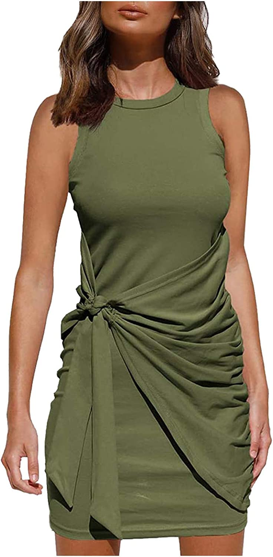 SHUAIGE Dresses for Women Summer Casual Sleeveless Elegant Sexy Slim Beach Crew Neck Tight-Fitting Mini Dress Green