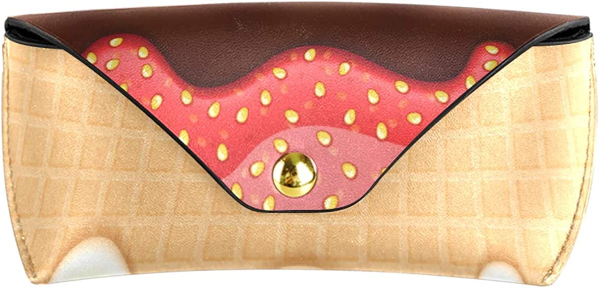 Goggles Bag Wallet Sunglasses Case Eyeglasses Pouch Abstract Cookies Sweet PU Leather Multiuse Portable