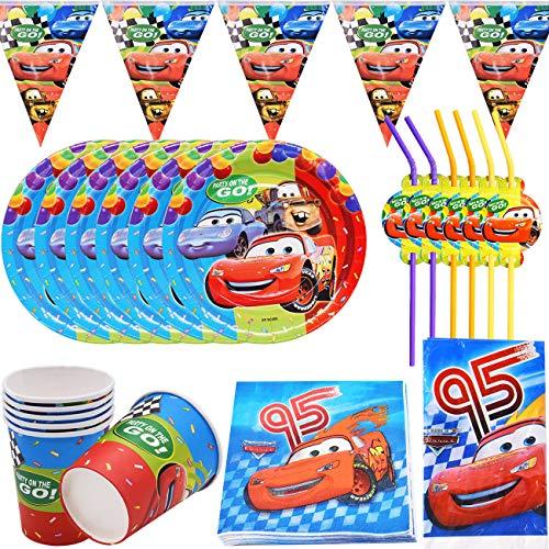 39 Piezas cars Accesorio de Decoración de Fiesta de Cumpleaños para con Platos Servilletas y Mantel Resistente para 6 Invitados