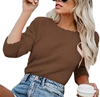Womens Sweaters Fuzzy Long Sleeve Loose O Neck Knit Sweatshirts Pullover