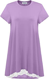 GOOBGS Musever Women's Short Sleeves Tunic Tops Casual Lace T-Shirt Blouse Lavender M