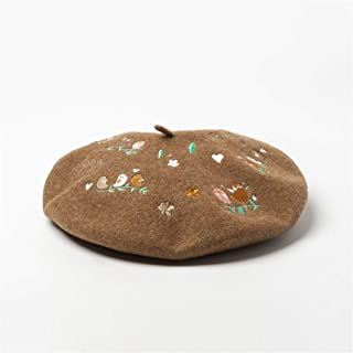 HAOHAO Stylish Autumn and Winter Bird Flowers Embroidered Wool Beret Painter Hat Ladies Casual Embroidered Hat (Color : Coffee, Size : M)