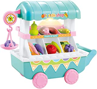 Play Food, Children's Play House Music Lights Kids Play Food, Plastic Fruit And Vegetable Cart Pretend Play Food for Prete...
