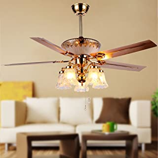RainierLight Modern Crystal Ceiling Fan Remote Control 5 Reversible Blades 5 Frosted Glass Cover for Indoor/Bedroom/Living Room LED Fan Chandelier Mute Fan 52 Inch