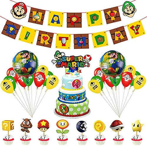 CYSJ PCS Super Mario Party Supplies Super Mario Globos Super Mario Cumpleaños Pancartas Decoración para Fiestas Adorno de Torta para Niños Ducha de Bebé Fiesta de Cumpleaños