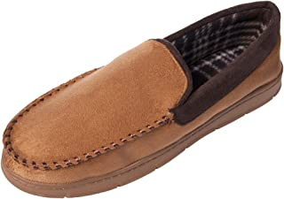 festooning Men's Moccasin Slippers Memory Foam Microsuede Slip-on Hardsole Flats Shoes Indoor/Outdoor