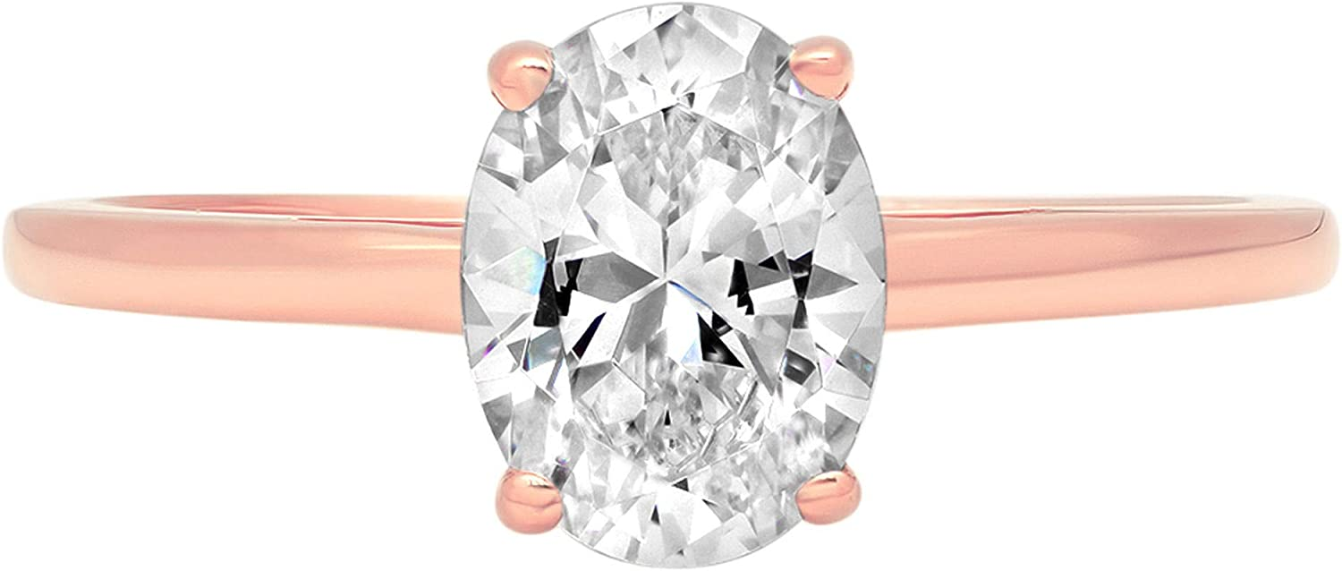 1.0 ct Brilliant Oval Cut Solitaire Stunning Genuine Lab Created White Sapphire Ideal VVS1 D 4-Prong Engagement Wedding Bridal Promise Anniversary Ring Solid 14k Rose Gold for Women