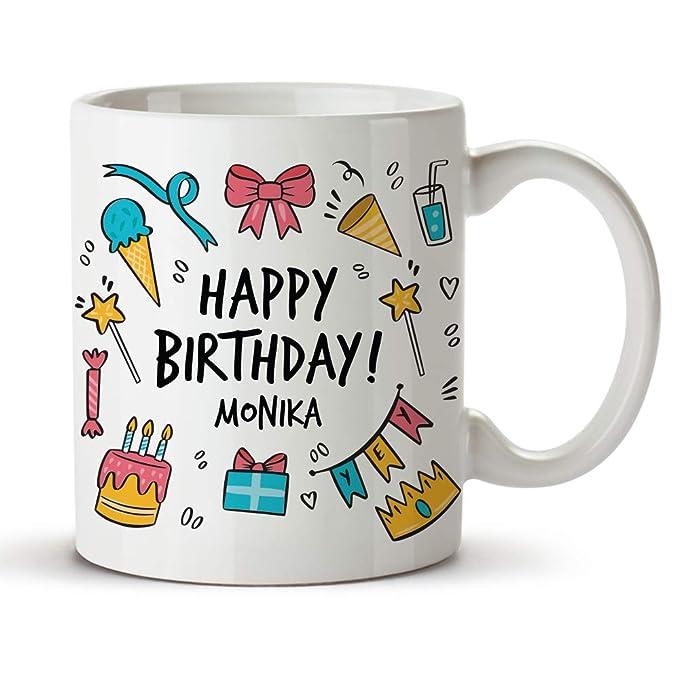 Jemiz Happy Birthday Monika Ceramic Coffee & Tea Mug for Inspiration