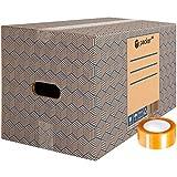 packer Pro Pack 20 Cajas Carton para Mudanzas y Almacenaje Ultra Resistentes con Asas y Cinta Adhesiva 430x300x250mm