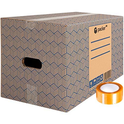 Pack 20 scatole di cartone per traslochi e stoccaggio, 430 x 300 x 250 mm, ultra resistenti, con manici + nastro adesivo, 100% ECO Box - Packer Pro