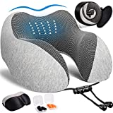 KINFUTON Travel Pillow, 100% Pure Memory Foam Neck Pillow for Airplane Travel with Breathable & Comfortable Machine Washable Cover, 2Pack 3D Sleep Mask, Earplugs, Portable Luxury Bag (Grey)