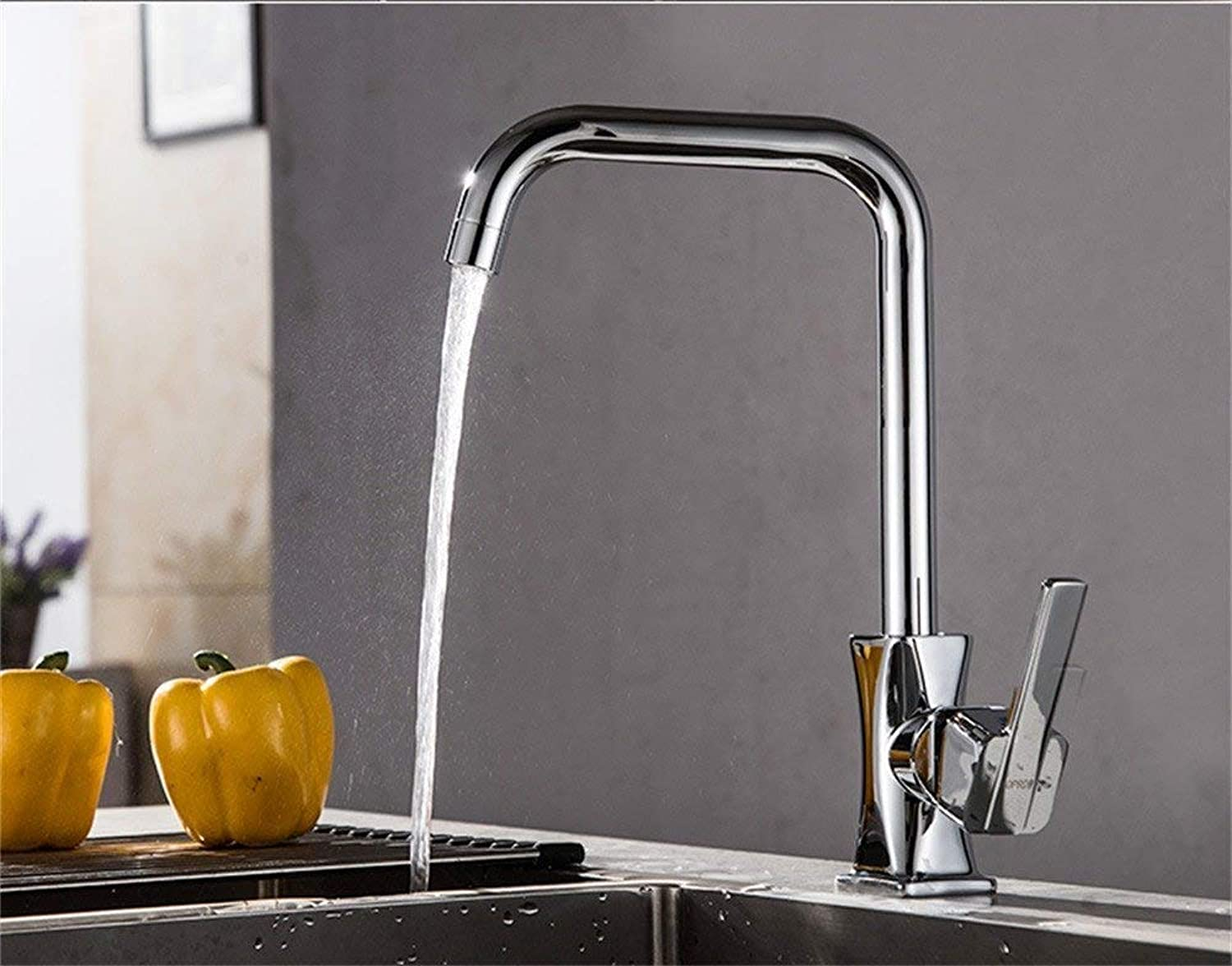 Oudan All Copper Faucet Kitchen Sink Switch 304 Stainless Steel Cold Vegetables Basin Faucet Mixing Valve redatable Ceramic Valve Core, Kitchen Faucet Waist (color   Waist Kitchen Faucet, Size   -)