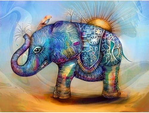 Waofe Peinture Peinte Bricolage éléphant Par Numéros 24 Peinture à L'Huile Peinte à La Main Peinture à L'Huile De PigHommests De Couleur- No Frame