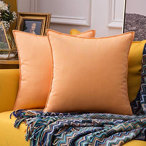 MIULEE Packung von 2 wasserdichte Sofa Kissenbezug Outdoor Wassersäule Polyester Kissenhülle im freien Set Kissen Fall für Sofa Schlafzimmer Auto 18x18Inch 45x45cm Orange