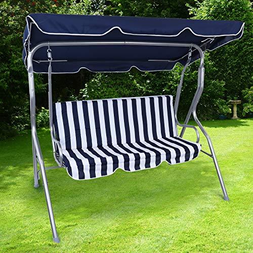 RAMROXX 38385 Hollywoodschaukel Gartenschaukel Outdoor Indoor 3 Sitzer Blau Weiß Silber