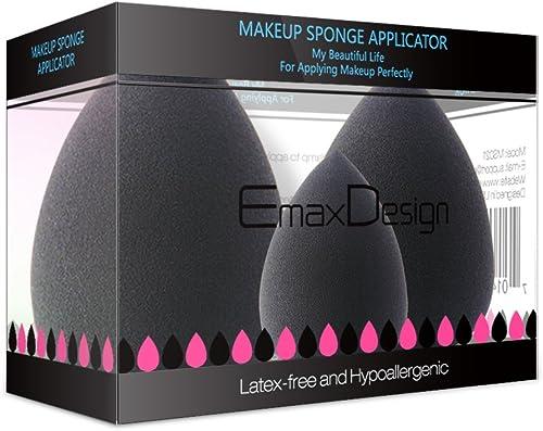EmaxDesign 3 pièces Blender éponge de maquillage, fond de teint Blush Estompeur Correcteur Yeux Visage Poudre Crème M...