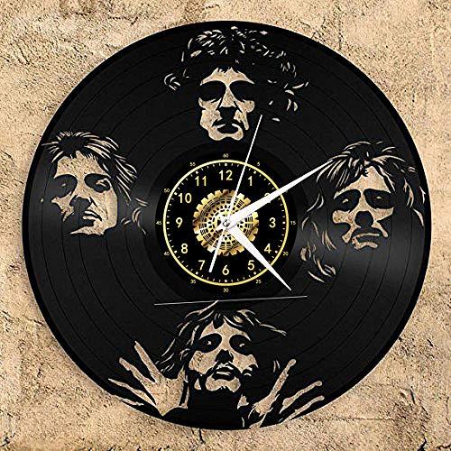 Freddie Mercury Vinyl Record Reloj De Pared Led Luminoso Nostálgico Silueta Record Hecho A Mano Arte Dormitorio Decoración Regalo Sin Luz Led 12 Pulgadas