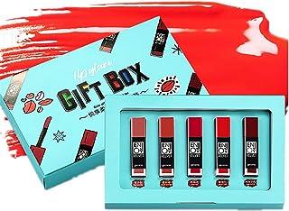 Hilai 5 Unids/pack Suave Brillo de Labios Set Caja de Regalo 5 colores Barra de Labios Mate/Superstay Matte Pintalabios Ma...
