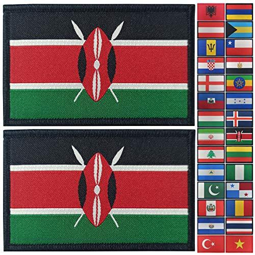 JBCD 2 Stück Kenia Flagge Patch Kenia Flaggen Tactical Patch Pride Flag Patch für Kleidung Hut Patch Team Military Patch
