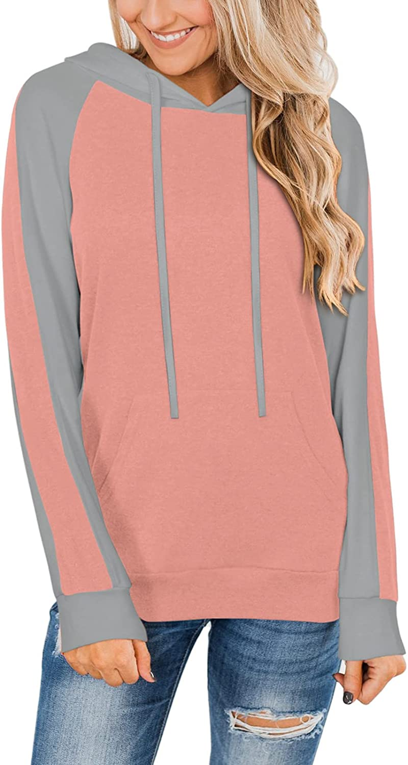 PINKMSTYLE Women's Color Block Hoodies Long Sleeve Shirts Drawstring Pullover Sweatshirt with Pocket