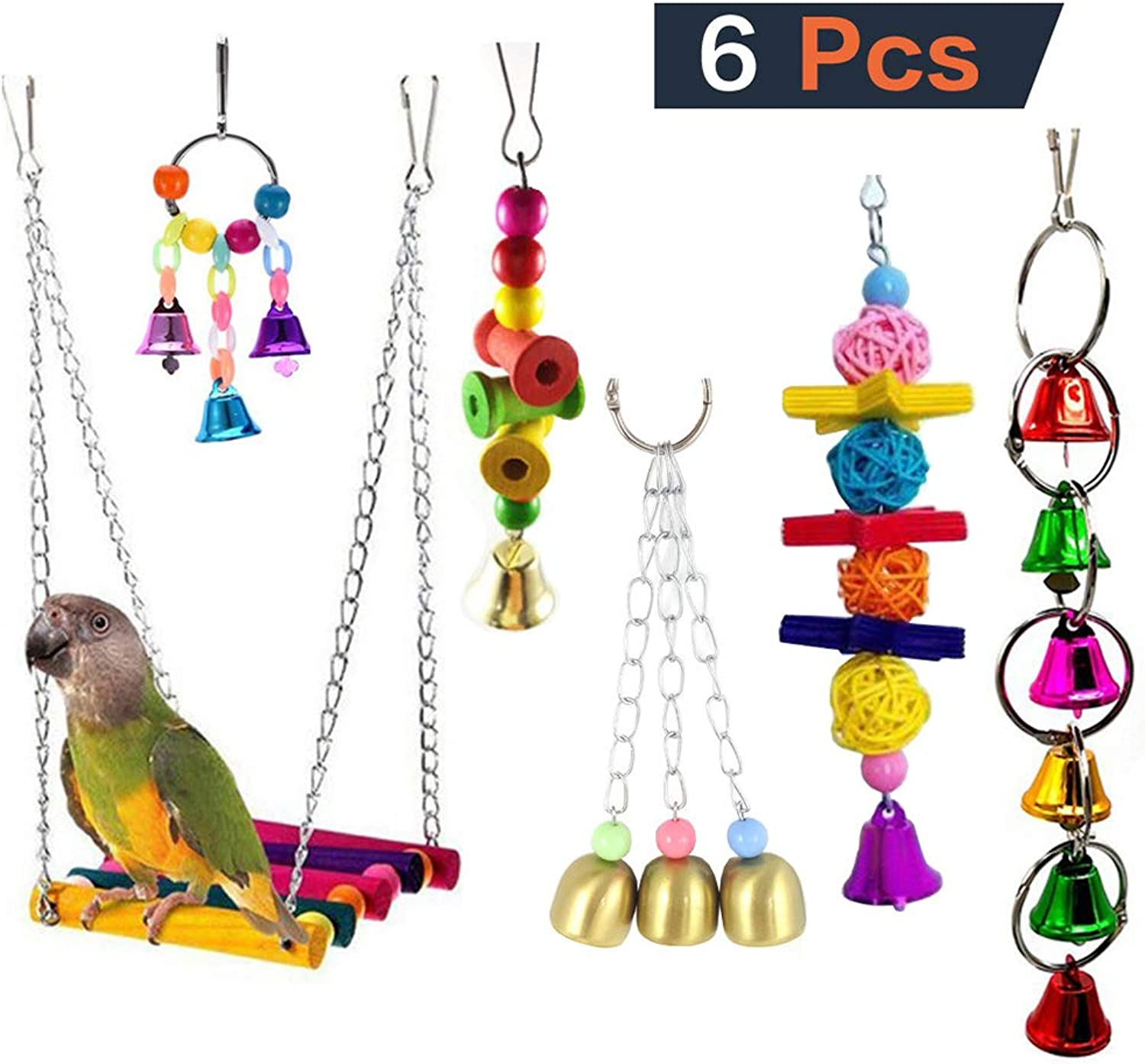 6pcs Bird Parred Toys Hanging Bell Pet Bird Cage Hammock Swing Parred bite Toy Suitable Small and Medium Bird