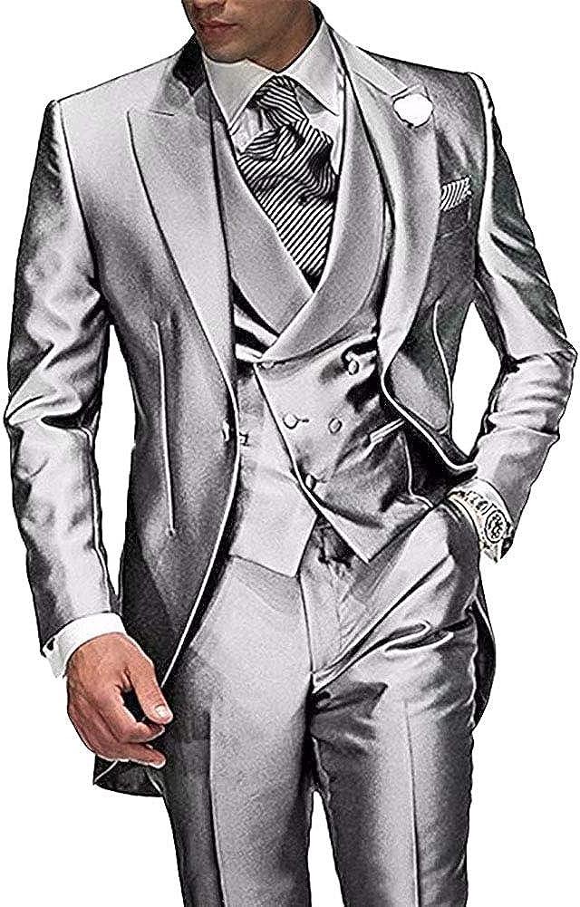 RONGKIM Gentleman 3 Pc Wedding Tailcoat Suits Foraml Business Suit (Jacket+Vest+Pants)
