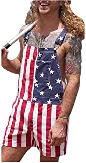 Hainice Independence Day Jumpsuit Denim Splicing Bib Couple Overalls Shorts with Pockets for Men 5XL