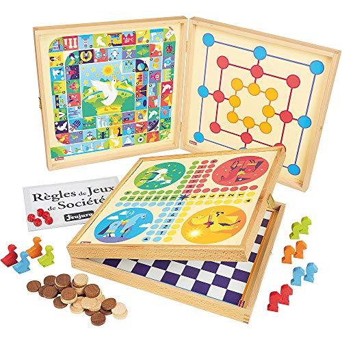 Jeujura - 8119- Jeux de Société-Coffret de Jeux Classiques - 50 Regles - Pions Bois
