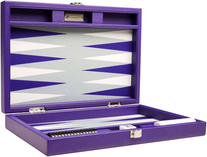 Silverman & Co. 13inch Premium Travel Backgammon Set  Purple Board