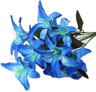 Artfen Artificial Lily 10 Heads Fake Lily Artificial Flower Wedding Party Decor Bouquet Home Hotel Office Garden Craft Art Decor Blue
