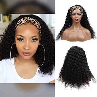 Headband Wig Human Hair Deep Wave Human Hair Wigs for Black Women Deep Curly Glueless None Lace Front Wigs 150% Density 18...