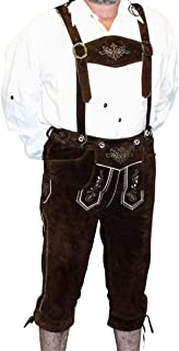 2-Piece Leather German Oktoberfest Lederhosen Shorts Pants Brown