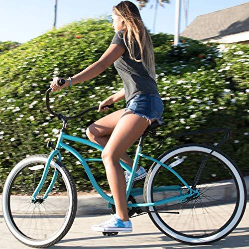 "sixthreezero Around The Block Women's Single-Speed Beach Cruiser Bicycle, 26"" Wheels, Teal Blue with Black Seat and Grips"