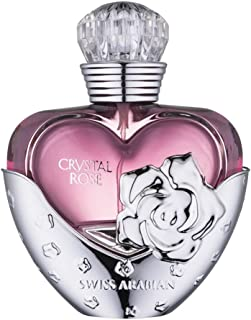Crystal Rose Perfume for Women 50mL | Floral Wood Pour Femme Eau de Parfum with stand-out notes of Caramel, Rose, Musk, Vanilla and Cedarwood | by Fragrance Artisan Swiss Arabian Oud | Spray Cologne
