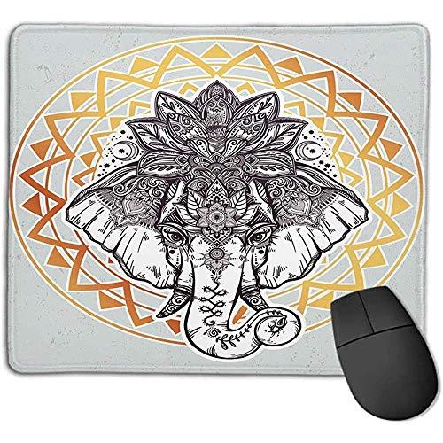 Alfombrilla ratón Elefante Mandala Telón Fondo Gris