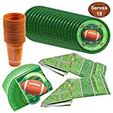 JOYIN Football Game Day Party Supplies Pack-18 Football Themed Cups, 18 Plates (9 inches), 36 Napkins and 2...