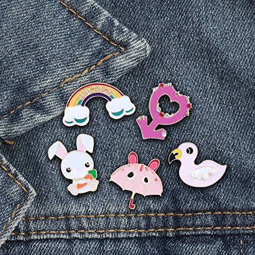 ZSCZQ Cartoon Tier Broschen Regenbogen Regenschirm Symbol Emaille Pins Denim Anstecknadel Mode Button Icon Tasche Abzeichen Schmuck Frauen Geschenke Ente