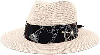 LIWENCUI Women Men Summer Straw Fedora Hat Wide Brim Beach Panama Sun Hat Fedora Hat Hollow Out (Color : Cream, Size : 56-58CM)