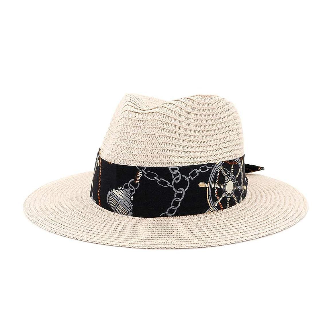 スロープイースター言語学RONGLINGXING 2019 ファッション 男性と女性の夏用ストローワイドブリムビーチパナマサンハット中空メッシュスネーク (色 : クリーム, サイズ : 56-58CM)