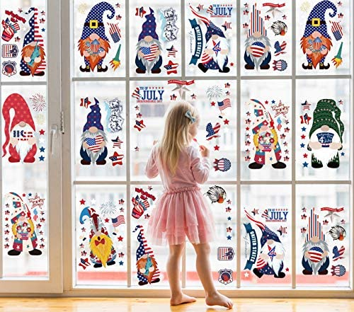 90PCS Fourth of July Gnome Window Clings Decorations Large Removable 4th of July Window Decal product image
