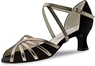 Werner Kern Femmes Chaussures de Danse Swantje - Couleur: Noir/Bronze - Made in Italy